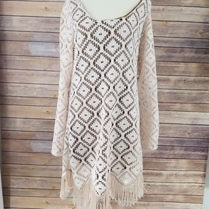 Judith March Bell Sleeve Ivory Lace Crochet Dress